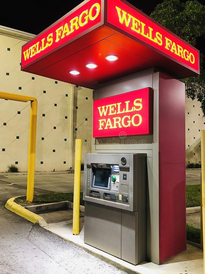 WELLS FARGO DRIVE-UP ATM. Wells Fargo & Company is an American multinational financial services company headquartered in San Francisco, California, with central royalty free stock photos
