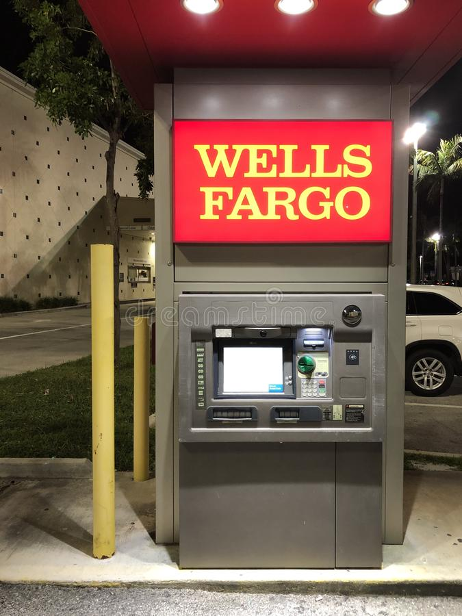 WELLS FARGO DRIVE-UP ATM. Wells Fargo & Company is an American multinational financial services company headquartered in San Francisco, California, with central royalty free stock image