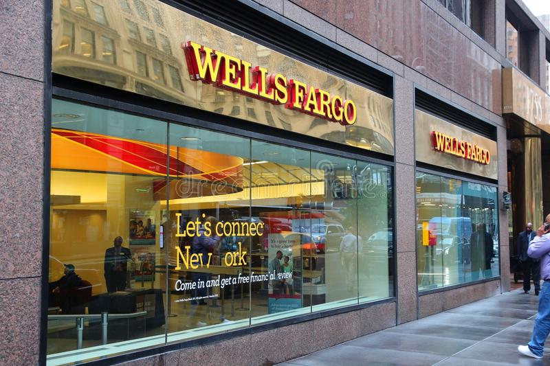 Wells Fargo New York. NEW YORK, USA - JUNE 10, 2013: People walk by Wells Fargo Bank branch in New York. Wells Fargo was the 23rd largest company in the United stock photography