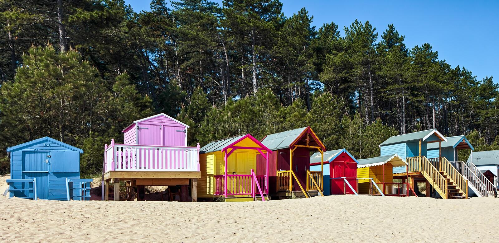 WELLS NEXT THE SEA, NORFOLK/UK - JUNE 3 : Some brightly coloured royalty free stock photography
