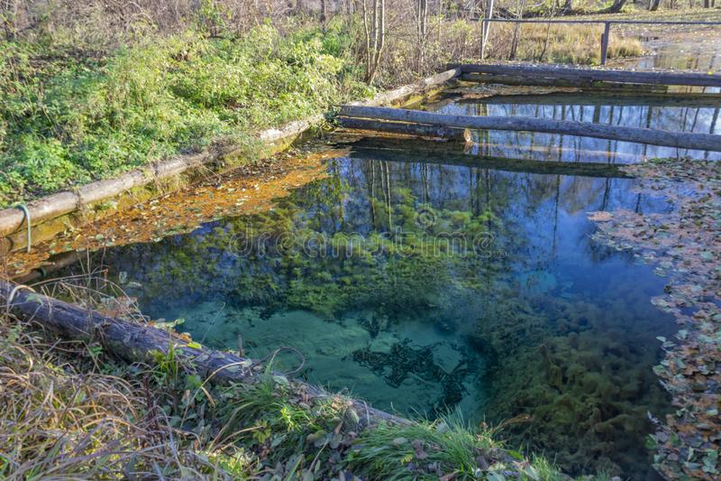Wellspring de Popovsky Parque nacional de Ugra reserva Región de Kaluga Rusia imágenes de archivo libres de regalías
