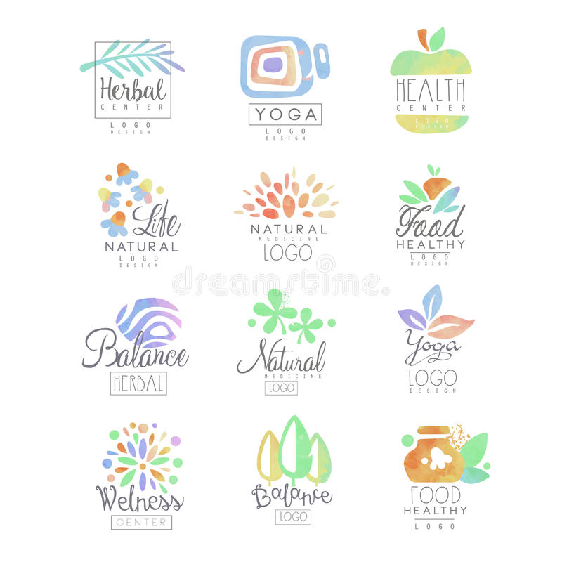 Welness, zen, ioga, centro erval, alimento saudável, moldes do logotipo da vida natural ajustou-se do vetor tirado mão da aquarel ilustração royalty free