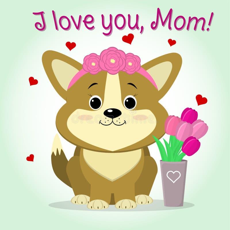 Welpe Corgi sitzt nahe bei einem Vase mit rosa Tulpen, Karikaturart glückwünsche Glücklicher Mutter`s Tag stock abbildung