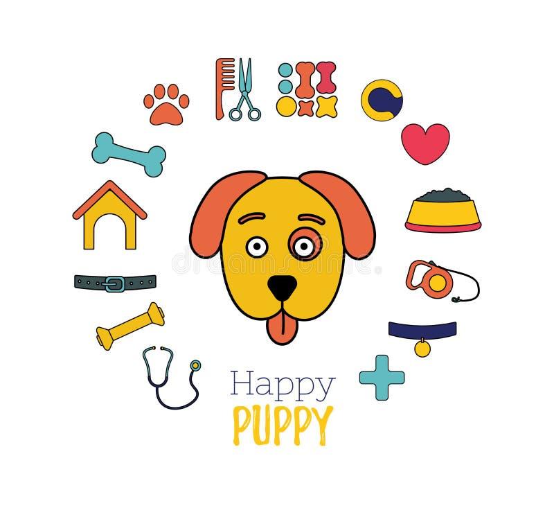 Welpen-Gesicht Hotel für Haustiere Veterinärklinik oder Schutz für Hunde Tierpflege lizenzfreie abbildung