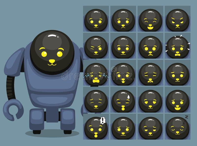 Welpen-Gesichts-Roboter-Karikatur-Gefühl stellt Vektor-Illustration gegenüber vektor abbildung