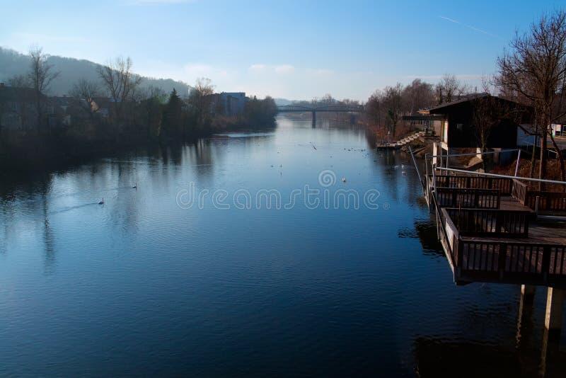 Wels, Austria. Morning scene on Traun River, Wels, Austria stock photos
