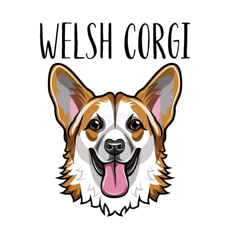 Wels Corgi-gezicht Retro portret Het ras van de Corgihond Vector royalty-vrije illustratie