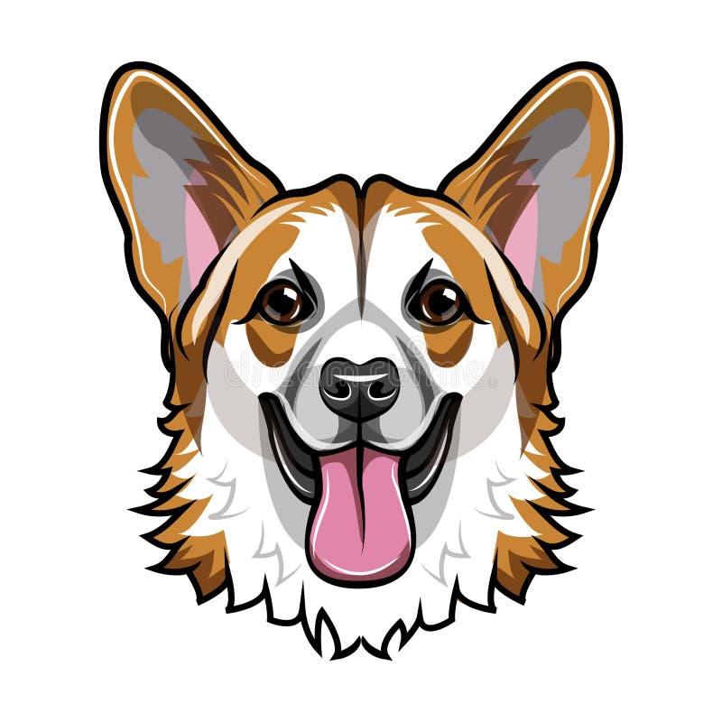 Wels Corgi-hoofd Glimlachende hond Corglisnuit, gezicht Hondras Vector vector illustratie