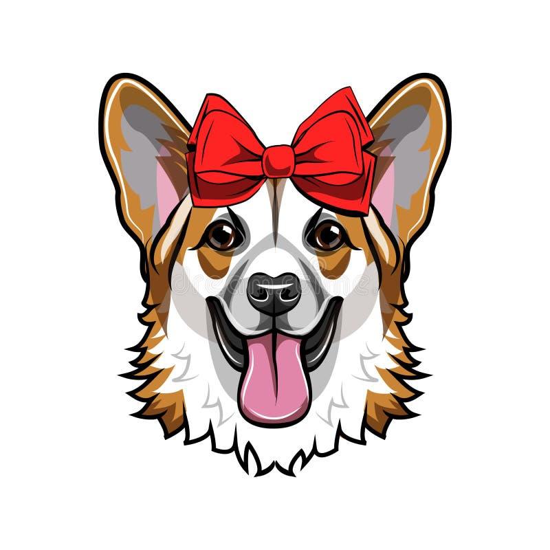 Welse Corgi Rode Boog Glimlachende hond Corgi leuk portret Vector royalty-vrije illustratie