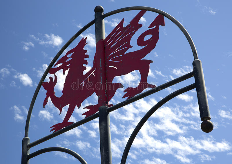 Welsh Dragon Sign, Millennium Coastal Path, Llanelli, South Wales. Near Loughor Estuary, Burry Port and Pwll stock photos