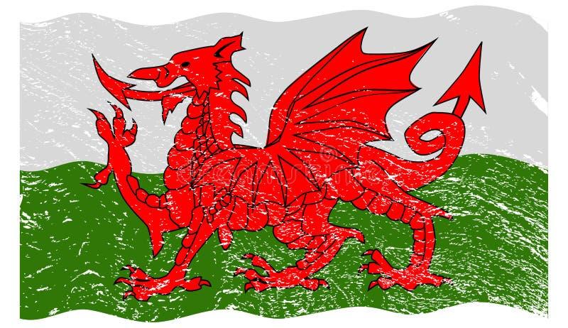 Welsh Flag Grunged vector illustration