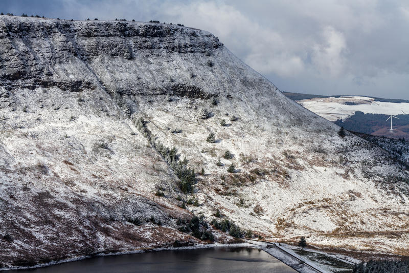 Welsh hillside with fresh light snow. royalty free stock images