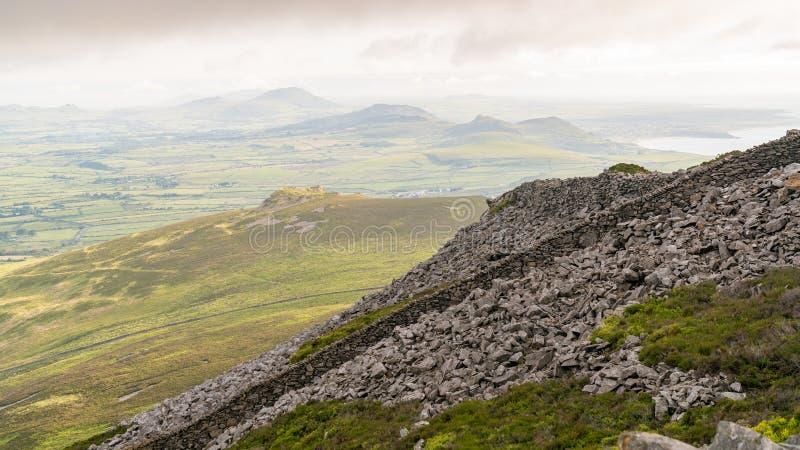 View from Tre`r Ceiri towards Porth Y Nant, near Trefor, Gwynedd, Wales, UK stock photos
