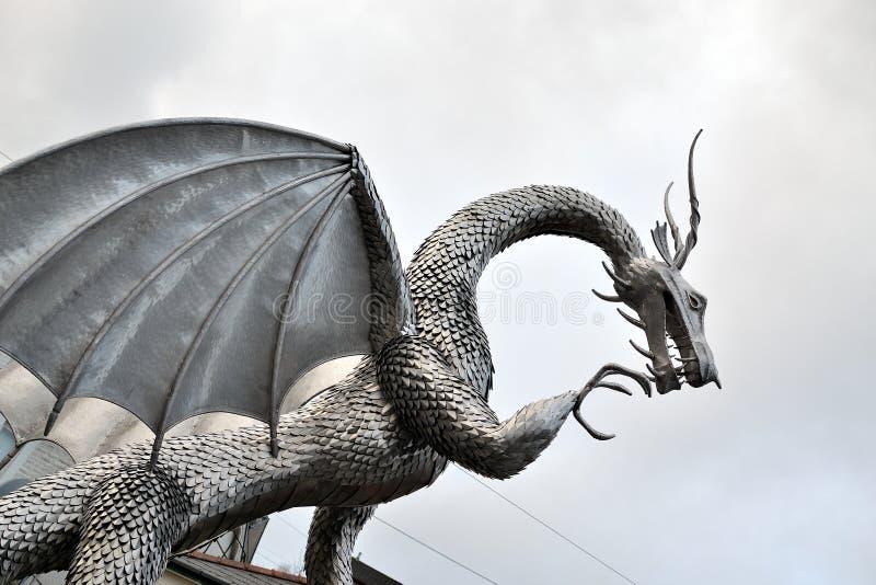 welsh metalu smoka rzeźba, architektura fotografia royalty free