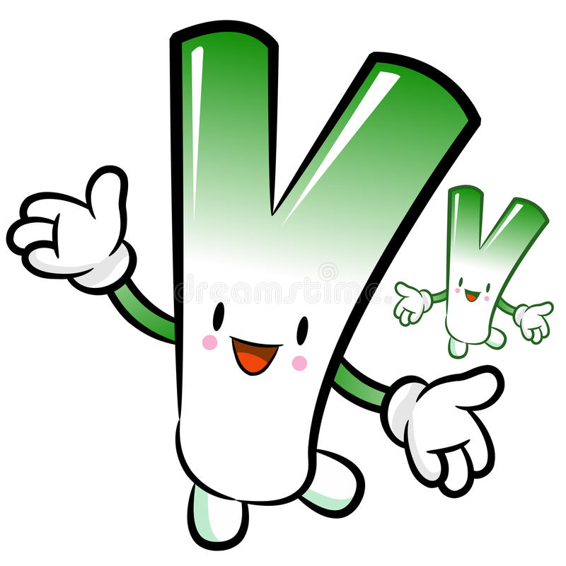 Welsh onion mascot the direction of pointing with both hands. Ve