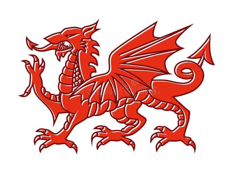 Welsh red Dragon on white background, Vector illustration of Fantasy Monster illustrated on national flag on Wales. royalty free illustration