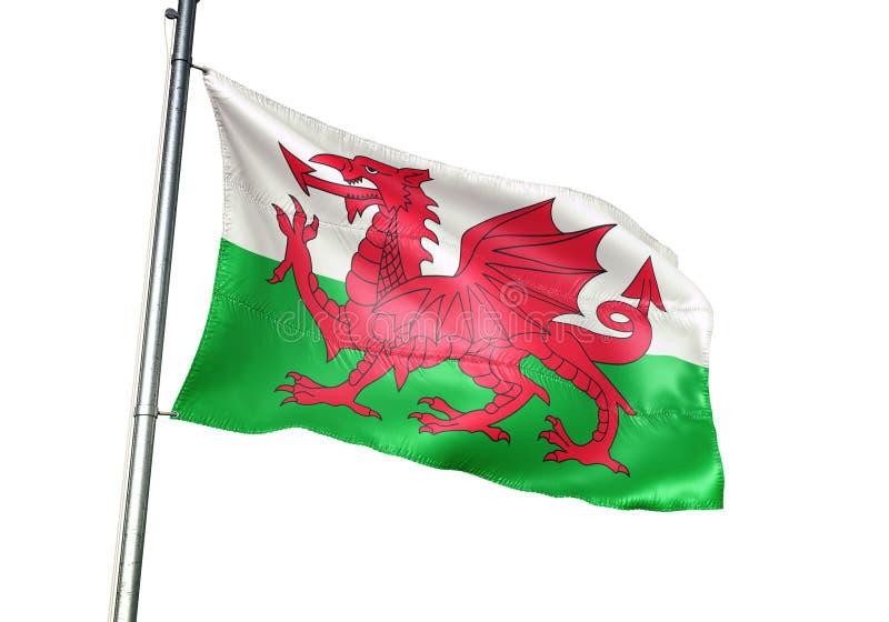 Wales national flag waving isolated on white background realistic 3d illustration stock illustration