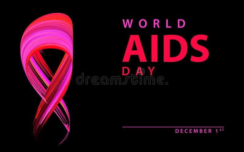 Welt-Aids-Tag-Band lokalisiert auf Schwarzem Vektor stock abbildung