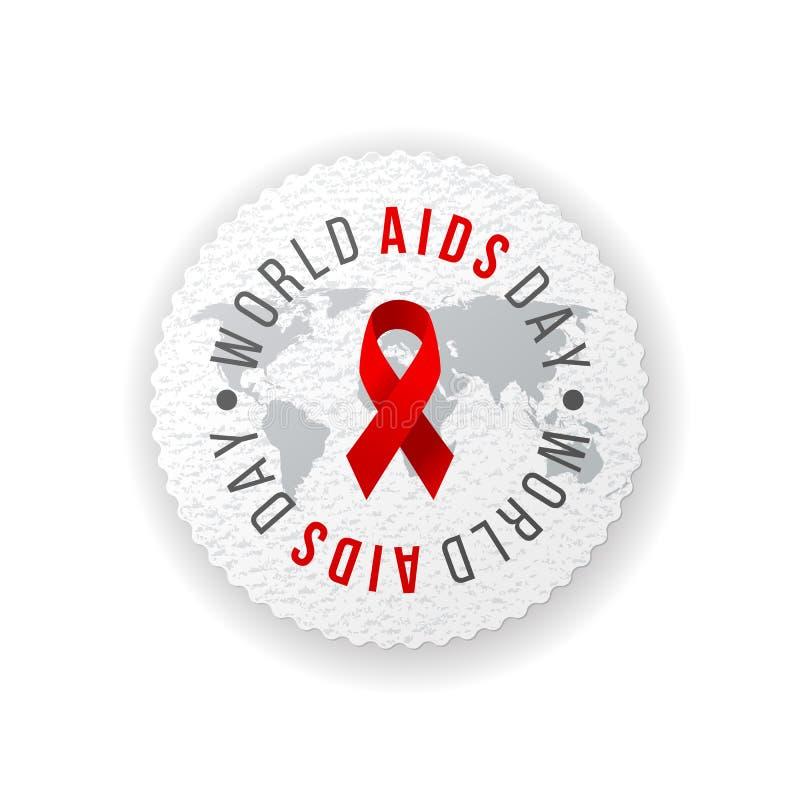 Welt-Aids-Tag-Emblem stock abbildung