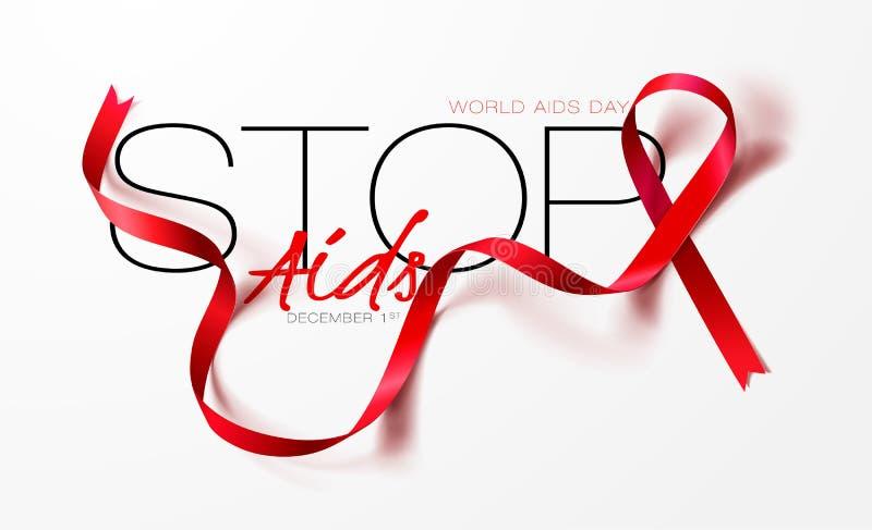 Welt-Aids-Tag-Konzept Stoppen Sie Hilfsmittel bewu?tsein Realistisches rotes Band Kalligraphieplakatdesign Auch im corel abgehobe lizenzfreie abbildung