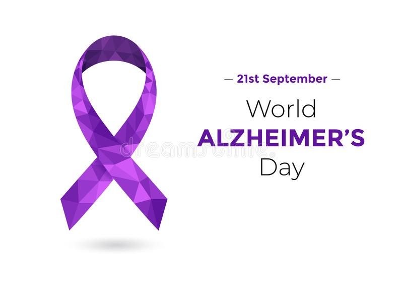 Welt-Alzheimers-Tag mit purpurrotem Bewusstseinsband stock abbildung
