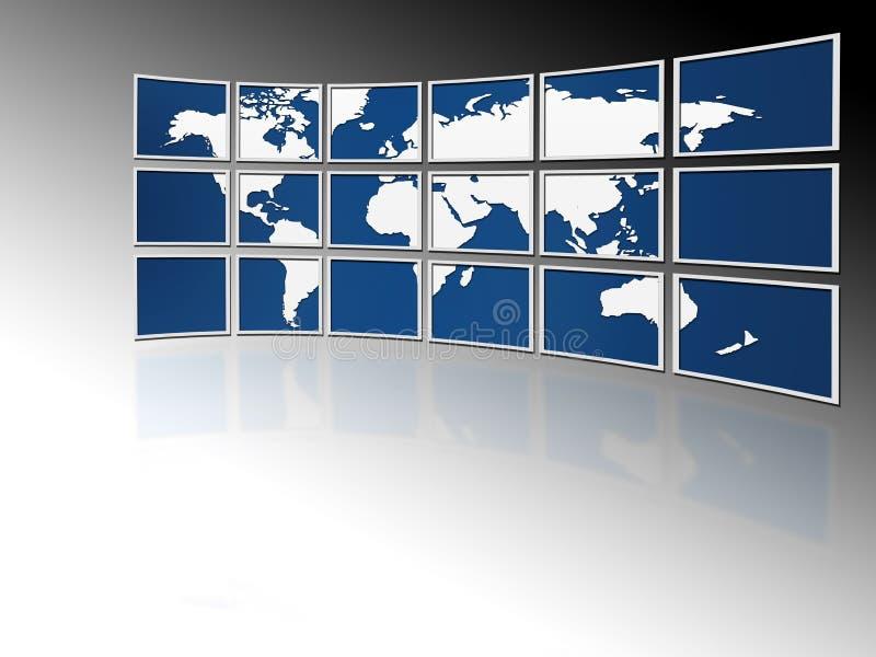 Welt auf Fernsehbildschirmen lizenzfreie abbildung