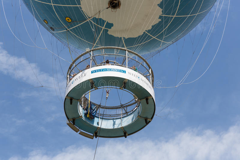 The Welt Balloon is a hot air balloon that takes tourists 150 metres into the air above Berlin. BERLIN, GERMANY - JULY 24: The Welt Balloon is a hot air balloon royalty free stock photography