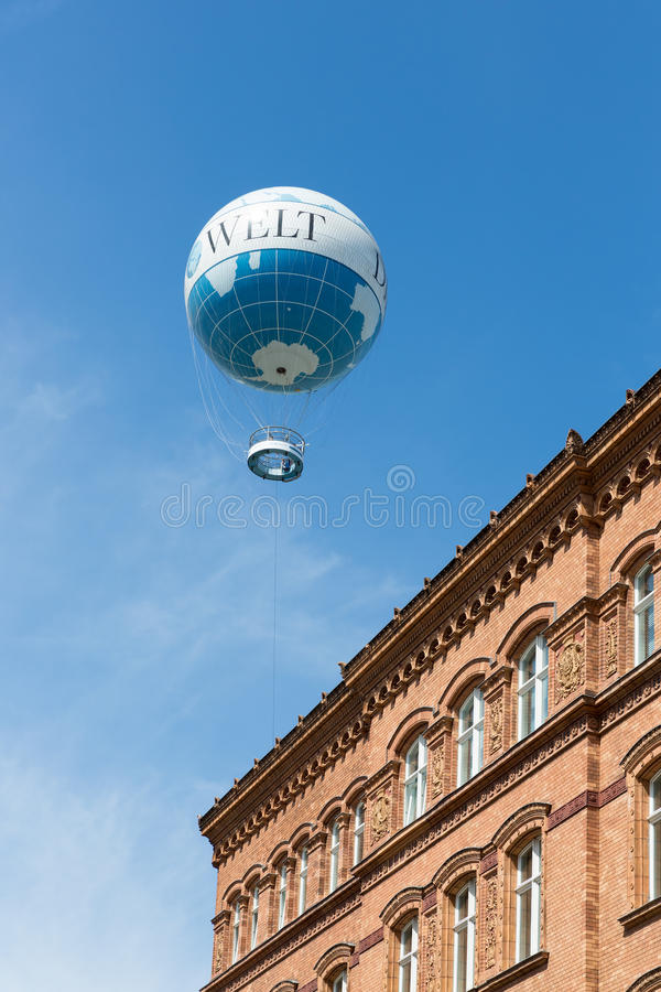 The Welt Balloon is a hot air balloon that takes tourists 150 metres into the air above Berlin. BERLIN, GERMANY - JULY 24: The Welt Balloon is a hot air balloon stock photo