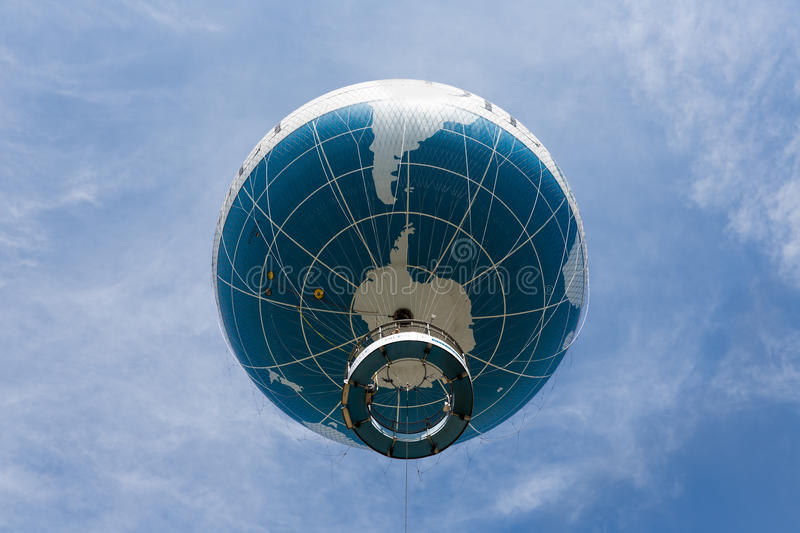 The Welt Balloon is a hot air balloon that takes tourists 150 metres into the air above Berlin. BERLIN, GERMANY - JULY 24: The Welt Balloon is a hot air balloon royalty free stock image