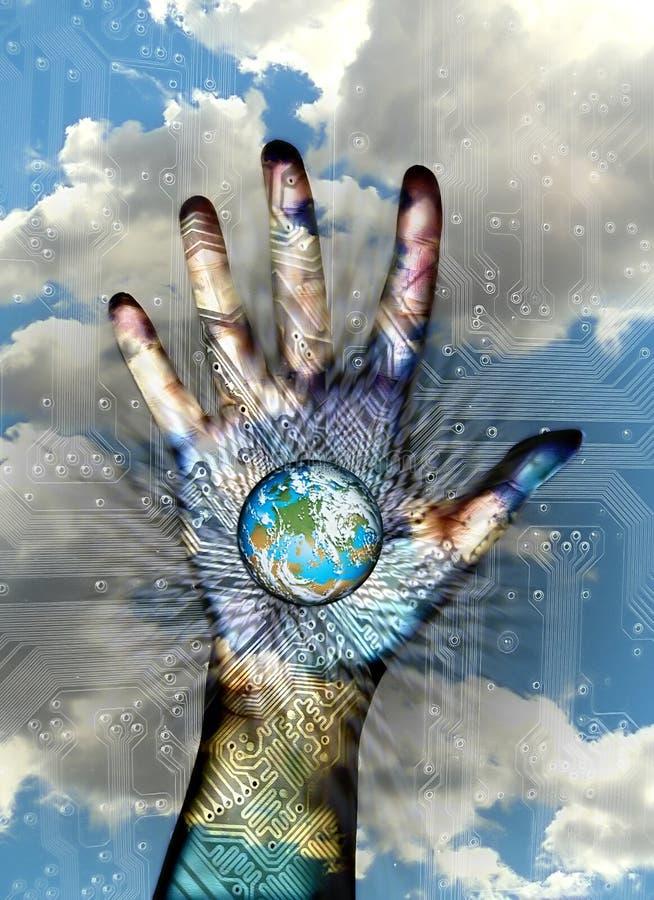 Welt in der Hand stock abbildung