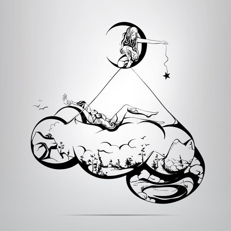 Welt in der Wolke.  Illustration lizenzfreie abbildung