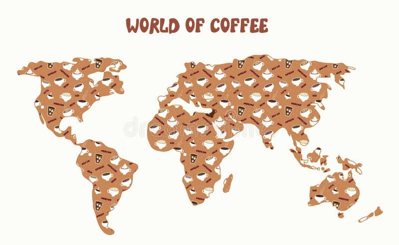Welt des Kaffees - Karte und verschiedene Arten lizenzfreie abbildung