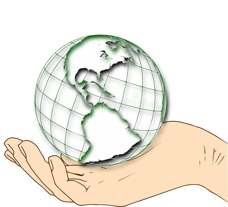 Welt in Ihrer hand- westlichen Hemisphäre lizenzfreie abbildung