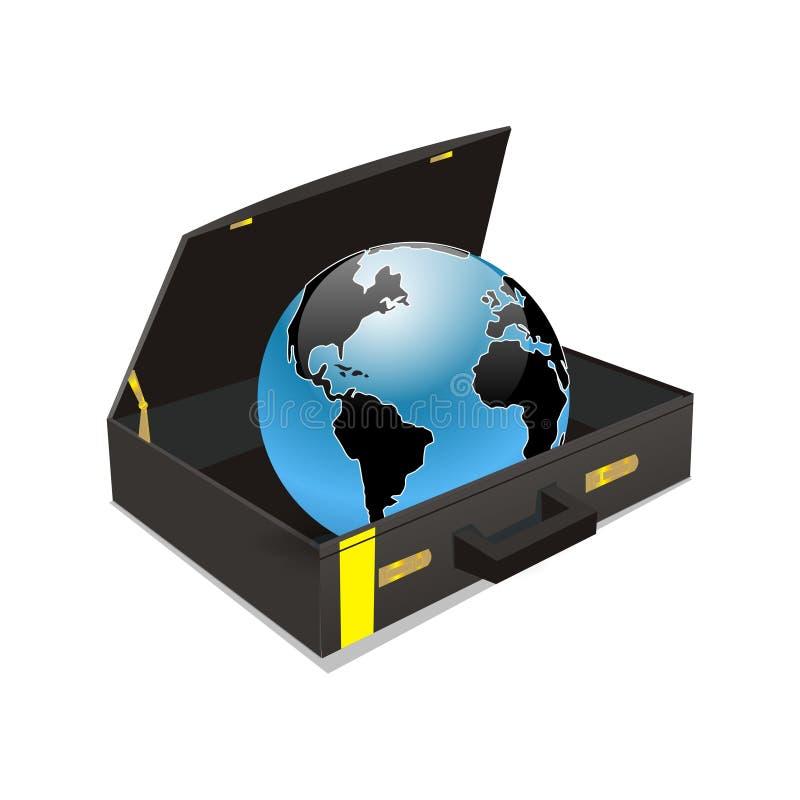 Welt im Koffer lizenzfreie abbildung