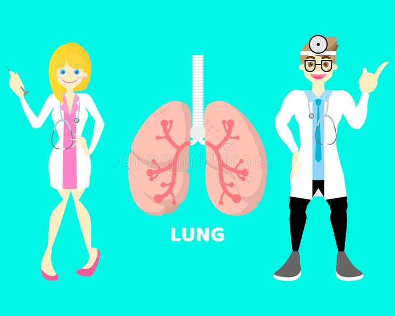 Welt kein Anatomiechirurgiekörperteilnervensystem-Lungengesundheitswesen der Tabaktagesmedizinisches inneren Organe mit Doktor stock abbildung