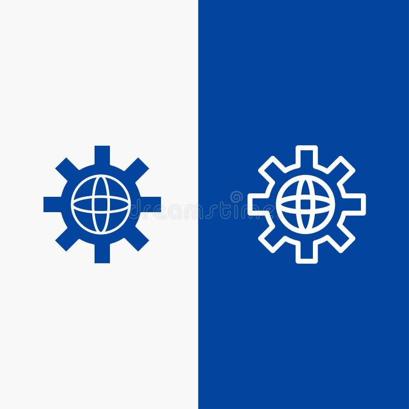 Welt, Kugel, Einstellung, blaue Fahne der blauen Fahne der technischen Ikone der Linie und des Glyph festen Ikone Linie und Glyph lizenzfreie abbildung