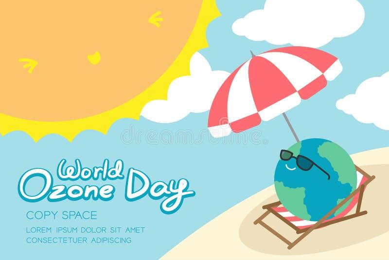 Welt-Ozon-Tagesam 16. september Horizont Fahnensatz, Konzeptlächelnerde der globalen Erwärmung mit Sonnenbrille, Regenschirm, Stu stock abbildung