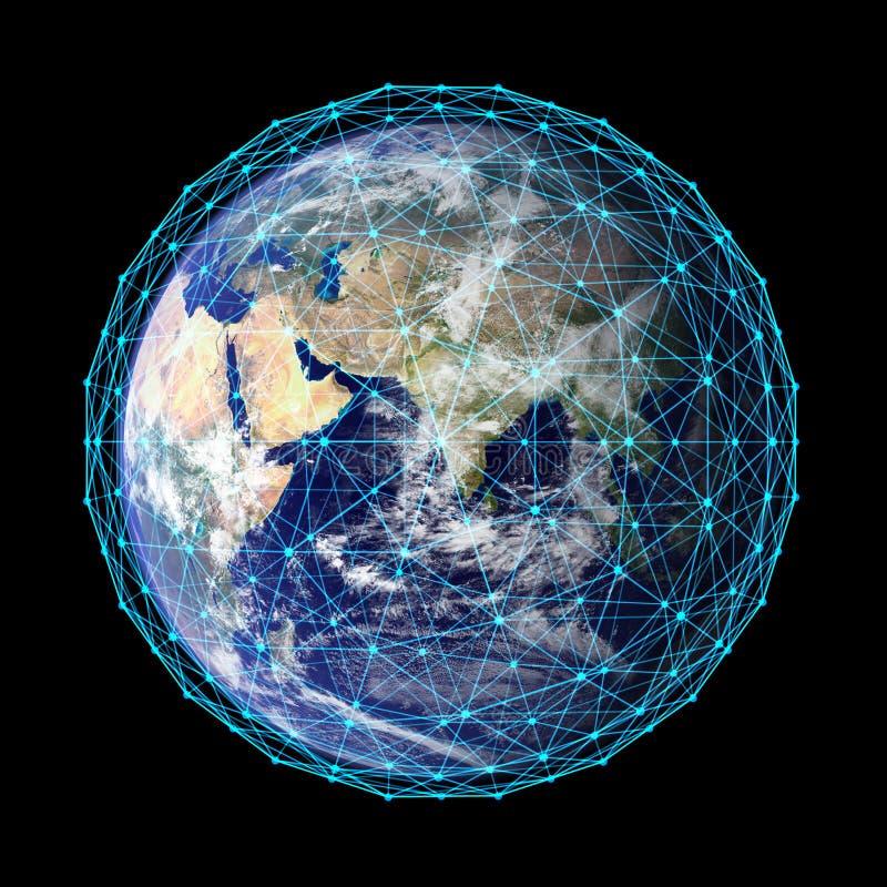 welt Planetenerde, globales Modell mit den digitalen Computernetzwerkverbindungslinien lokalisiert auf schwarzem Hintergrund Elem vektor abbildung