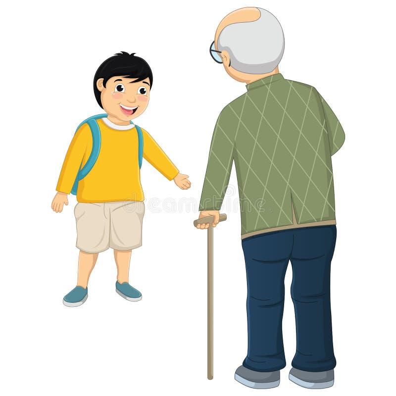 Kinder-und alter Mann-Vektor-Illustration lizenzfreie abbildung