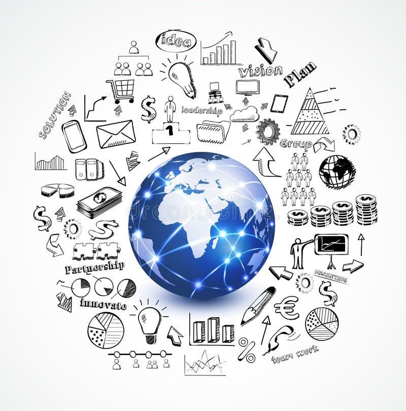 Welt und Geschäftskonzept mit dem Gekritzelgeschäft sy vektor abbildung