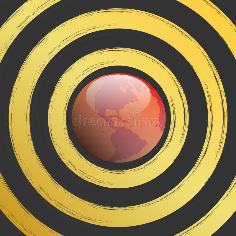 Welt-Ziel-Blutig-Planet-Warnung-Markierung-Gefahr-Backg vektor abbildung