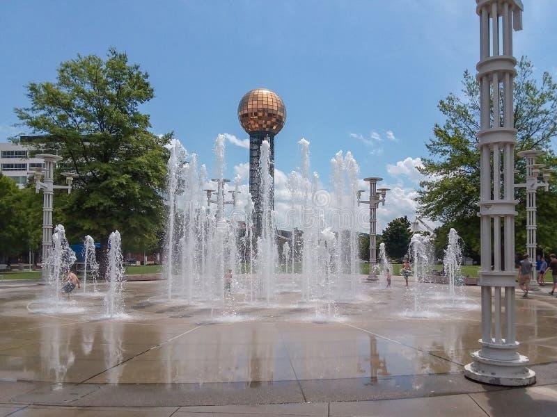 Weltangemessener Park-Brunnen Knoxville Tennessee lizenzfreie stockfotografie