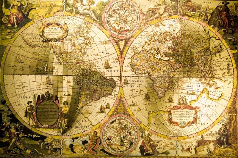 Weltantike Karte stockbild