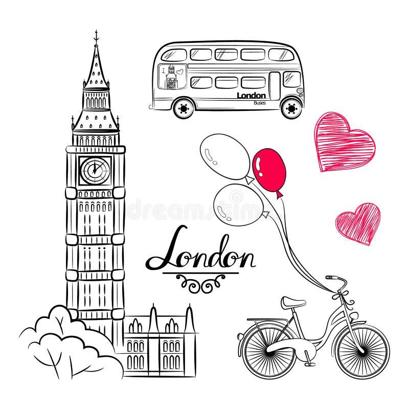 Weltberühmte Marksteinsammlung der Handskizze: Großer Ben London, England, Fahrrad, Ballone stock abbildung