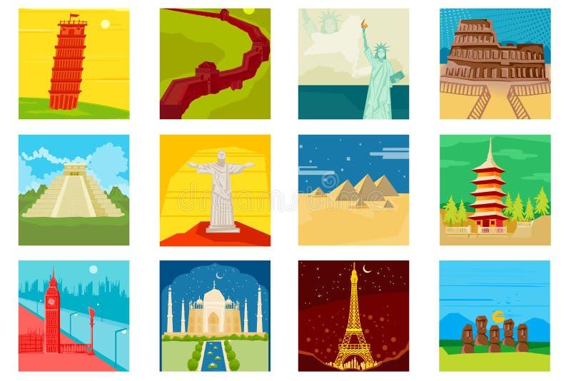 Weltberühmte Monumente stock abbildung