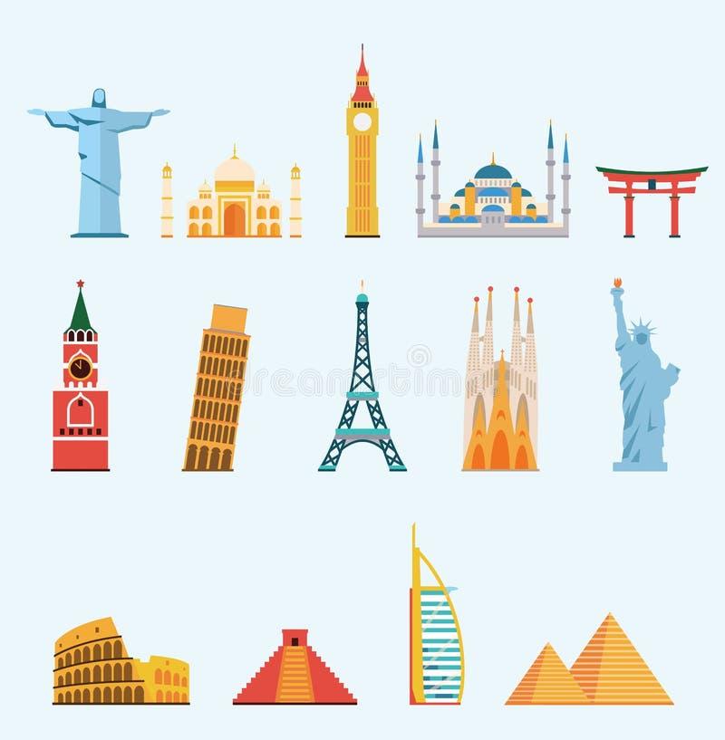 Weltberühmte Reisemarksteine stock abbildung