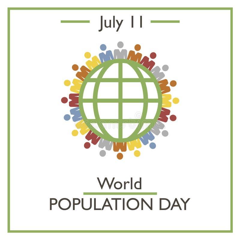 Weltbevölkerungs-Tag, am 11. Juli stock abbildung
