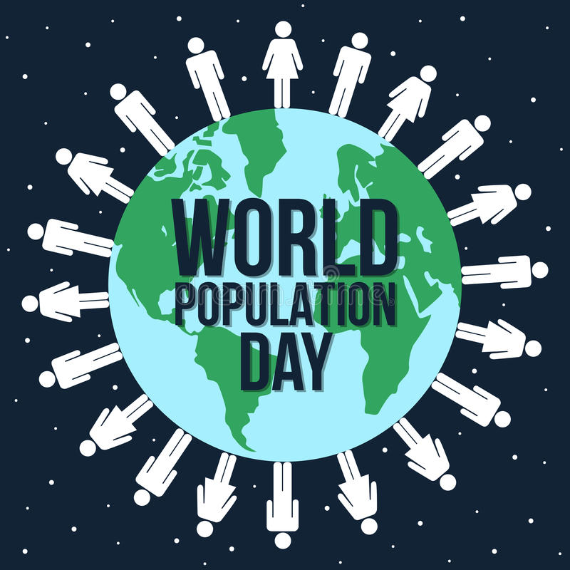 Weltbevölkerungs-Tagesgrafikdesign lizenzfreie abbildung