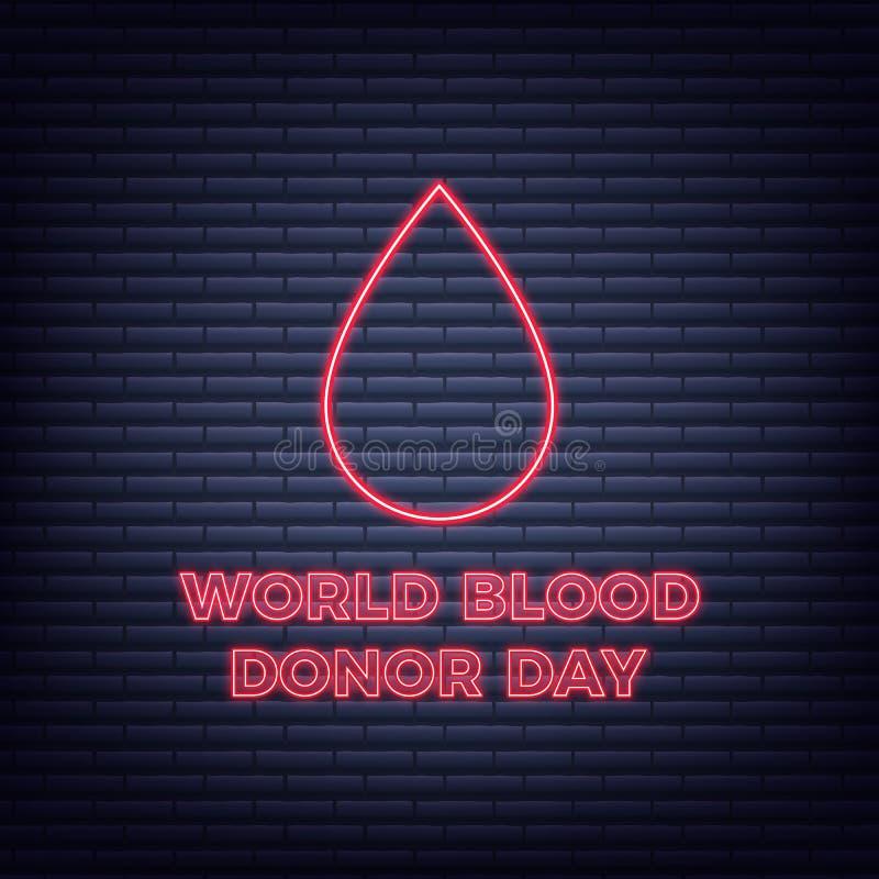 Weltblutspend-Tag Neonbluttröpfchen und -typographie stock abbildung