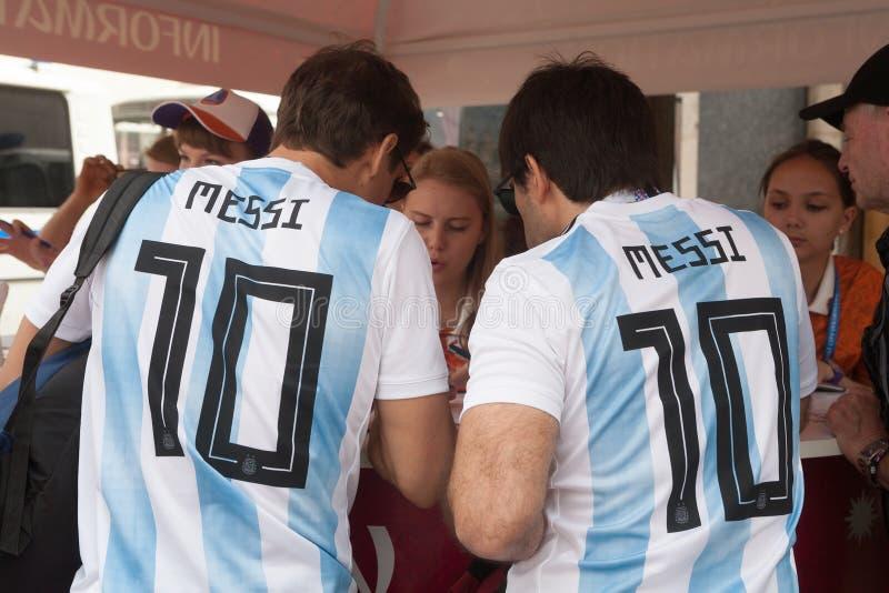 Weltcup 2018 Argentinische Fußballfane 21 06 2018 stockbild